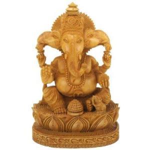 Ganesh talla de madera.  Japón.  Temprano budista trajo Ganesh a Japón.